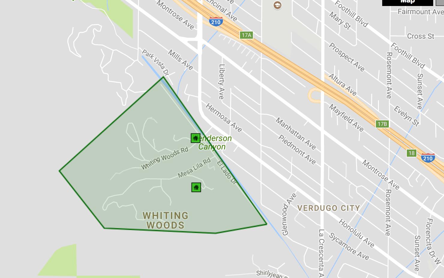 Map of the La Crescenta Neighborhood Whiting Woods