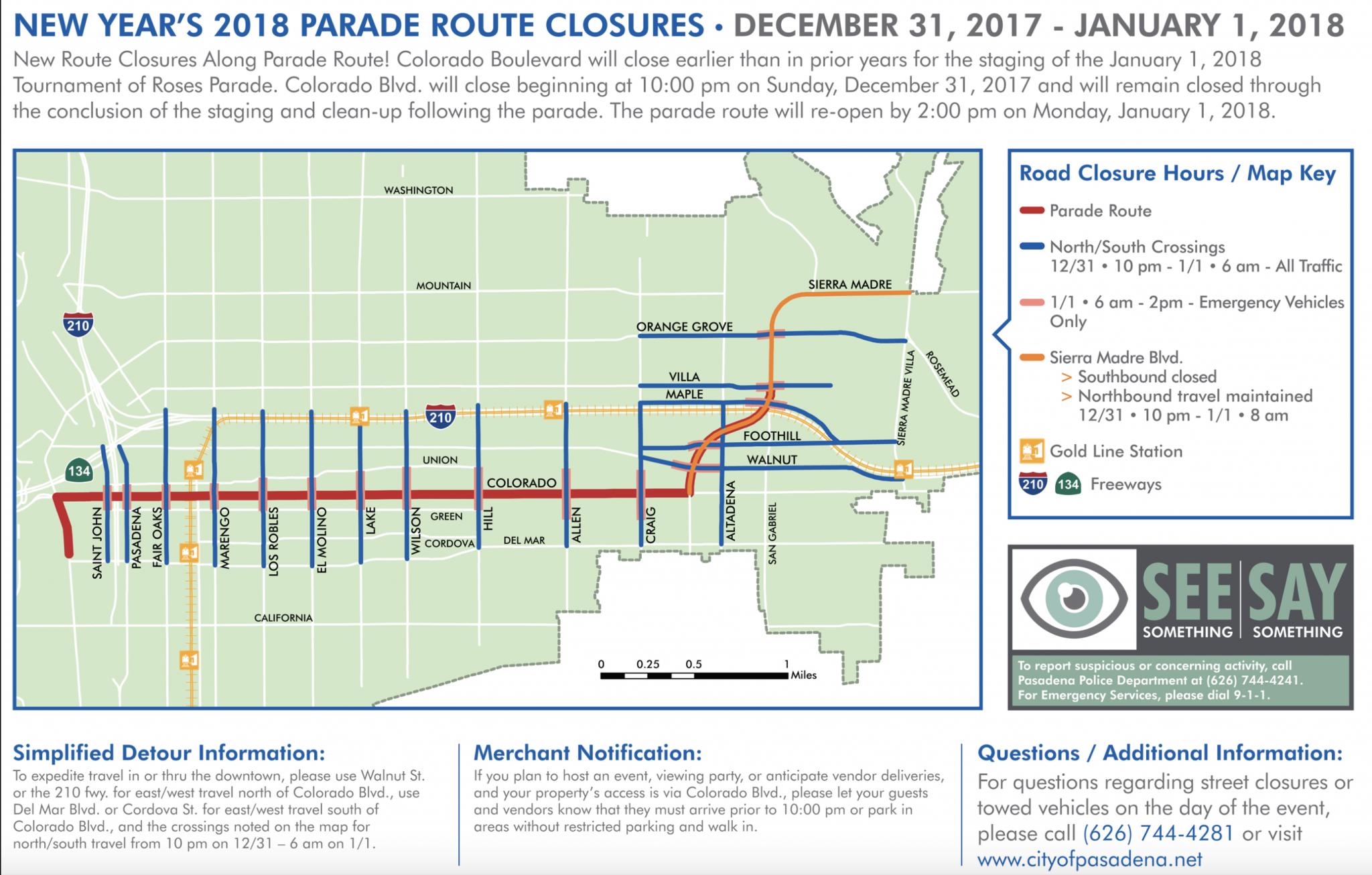 Pasadena Rose Parade Route Closures